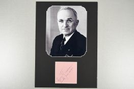 Harry S Truman (1884 - 1972) Original Signature dated 1956.
