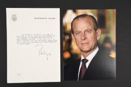 Philip, Duke of Edinburgh (1921 - 2021) Original Signature on Headed paper
