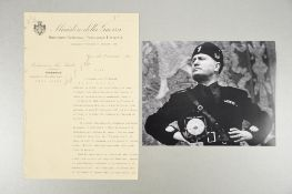 Benito Mussolini (1883 - 1945) Rare Document with Original Signature dated 1925.
