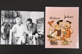 Hanna Barbera (1910 - 2001 ) & Joe Barbera (1911 - 2006) Original Signatures on Flintstones Pic