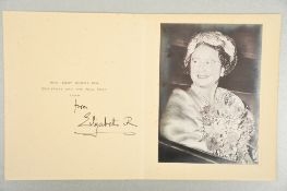 Queen Elizabeth The Queen Mother (1900 - 2002) Original Signed Christmas Card 1959.