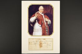 Pope Pius IX (1792 - 1878) Original Signature.