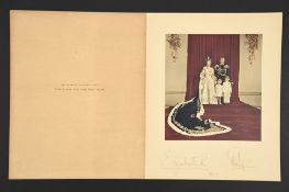 Elizabeth II & Prince Phillip. A handwritten Christmas card individually signed dated 1953.