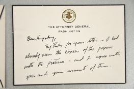 Robert Kennedy (1925 - 1968) Original Signature on headed card.
