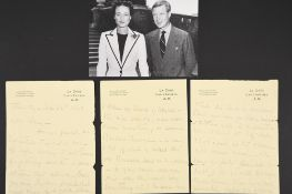 Wallis Windsor (nee Simpson) (1896 - 1986) Handwritten & signed letter.