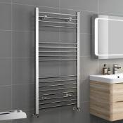 1200x600mm - 20mm Tubes - Chrome Heated Straight Rail Ladder Towel Radiator. RRP £219.99.The ...