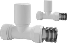 NEW & BOXED White Straight Towel Radiator Valves 15mm Central Heating Valve. RA31S. Solid bras...