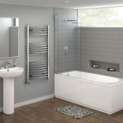 NEW & BOXED 1200x600mm - 20mm Tubes - Chrome Curved Rail Ladder Towel Radiator.NC1200600.Made f...
