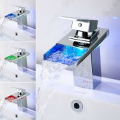 New Led Waterfall Bathroom Basin Mixer Tap. RRP £229.99.Easy To Install And Clean. All Co...