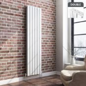New & Boxed 1800x452mm Gloss White Double Flat Panel Vertical Radiator. RRP £499.99.RC238...