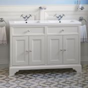 New Boxed 1200mm Loxley Chalk Double Basin Vanity Unit - Floor Standing. Comes Complete With Ba