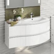 New 1040mm Amelie High Gloss White Curved Vanity Unit - Right Hand - Wall Hung. RRP £899.99.