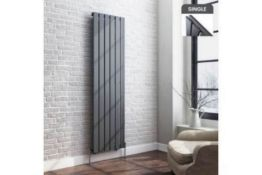 New & Boxed 1600x452mm Anthracite Single Flat Panel Vertical Radiator. Rc209. RRP £307.99.