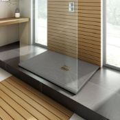 New 1000x800mm Rectangular Slate Effect Shower Tray In Grey. Manufactured In The UK From High