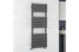 New & Boxed 1200 x 450 Anthracite Flat Panel Heated Towel Rail Bathroom Radiator. RRP £349 .