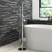 New Gladstone Freestanding Thermostatic Bath Mixer Tap With Hand Held Shower Head. Tb3017. Chr