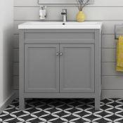 New & Boxed 800mm Melbourne Earl Grey Double Door Vanity Unit - Floor Standing RRP £849.99. Co