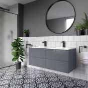 New 1200mm Trevia Grey Gloss Built In Vanity Unit. Comes Complete With Basin. Contemporary Wa