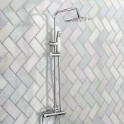 New & Boxed Exposed Thermostatic 2-Way Bar Mixer Shower Set. Chrome Valve 200mm Square Head + H
