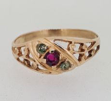 14ct (585) Rose Gold Red and Green Stone Dress Ring