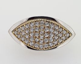 9ct (375) White & Yellow Gold Marquise-Shaped CZ Ring
