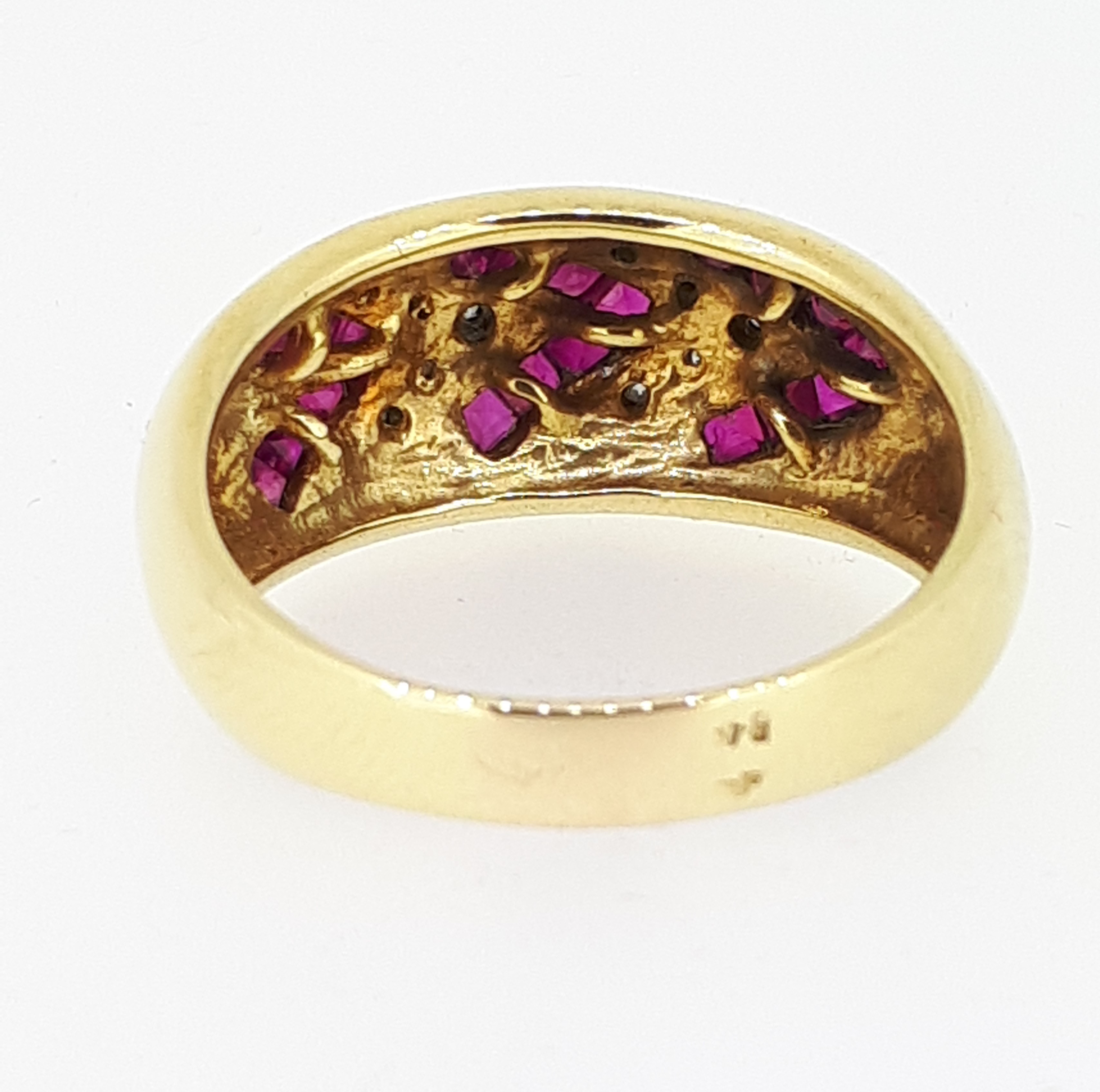 18ct (750) yellow Gold Ruby & Diamond Heavy Ring - Image 5 of 5