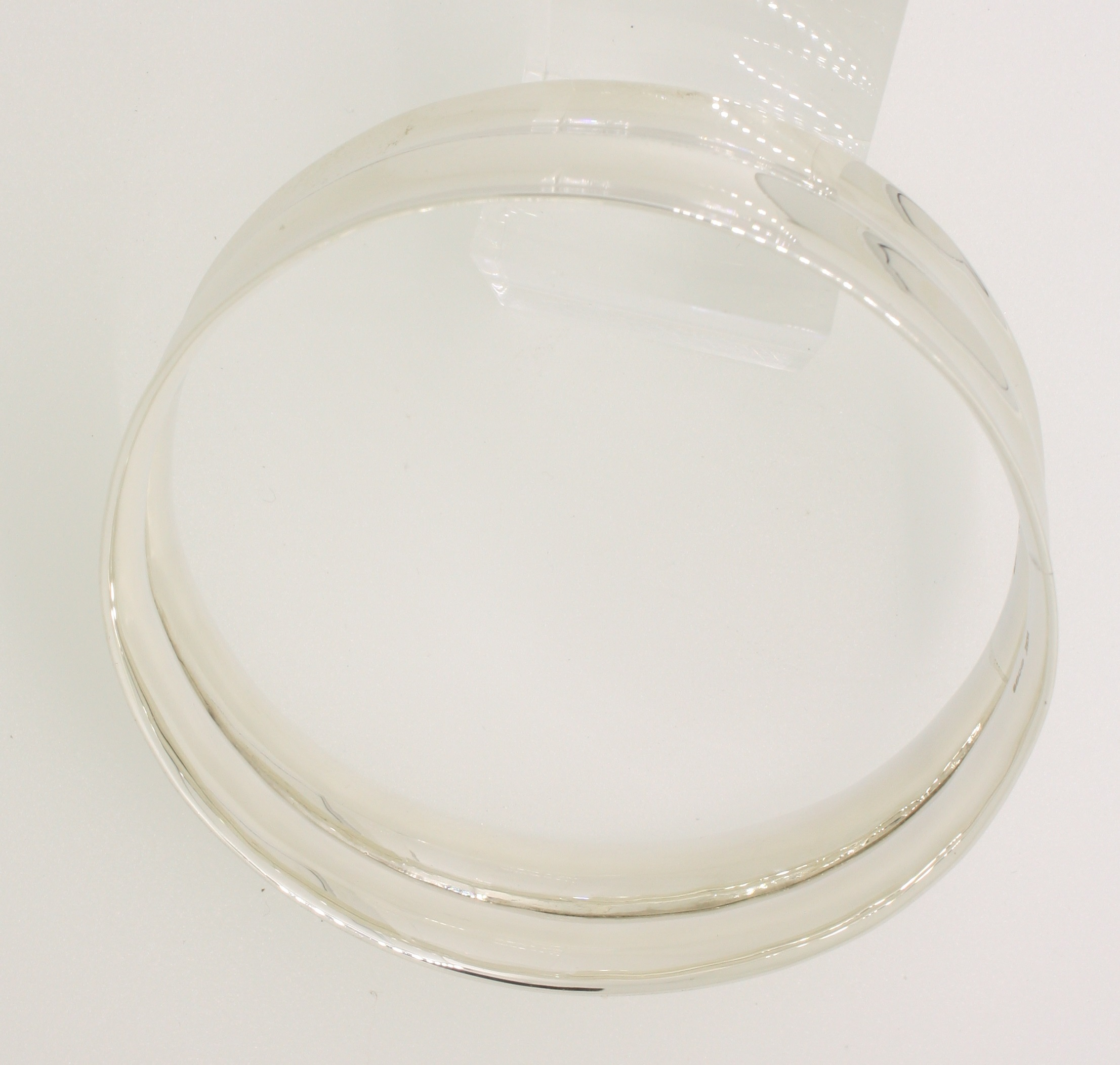 Sterling Silver Handmade Double Concave Wide Bangle - Image 3 of 4