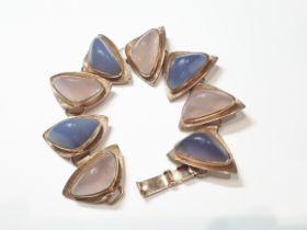 Vintage 9ct (375) Yellow Gold Rose Quartz & Blue Chalcedony Bracelet