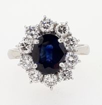 18ct White Gold Oval 2.2ct Sapphire & 1.0ct Diamond Cluster Ring