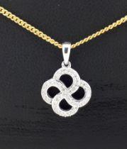 9ct White Gold Diamond Pave Organic Swirl Pendant