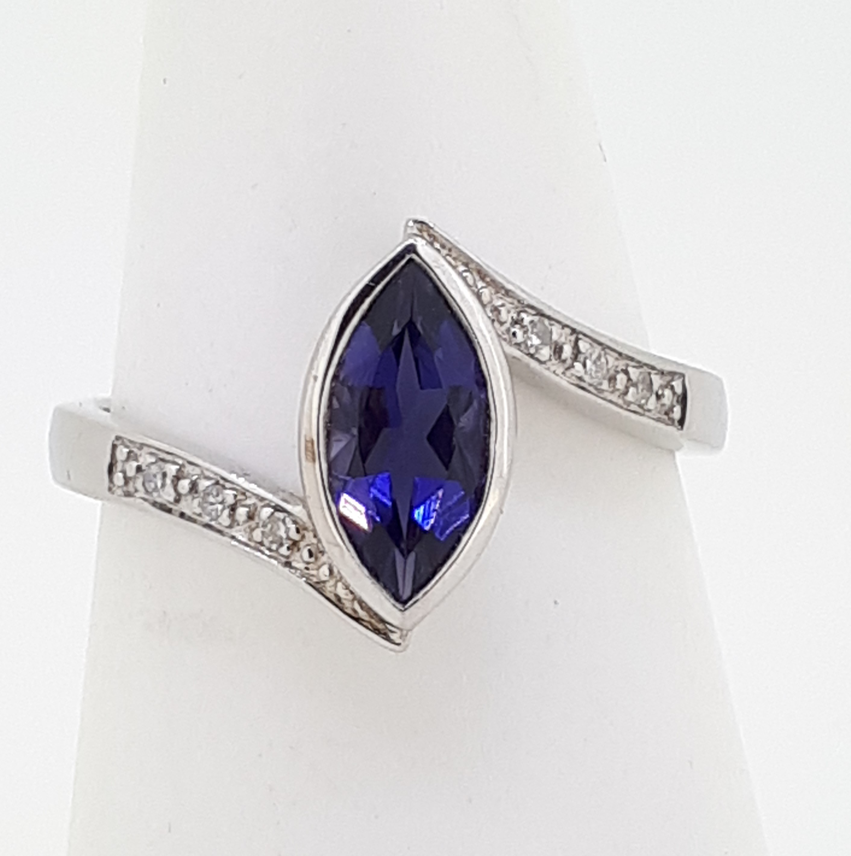 9ct (375) White Gold Diamond & Marquise Iolite Crossover Ring