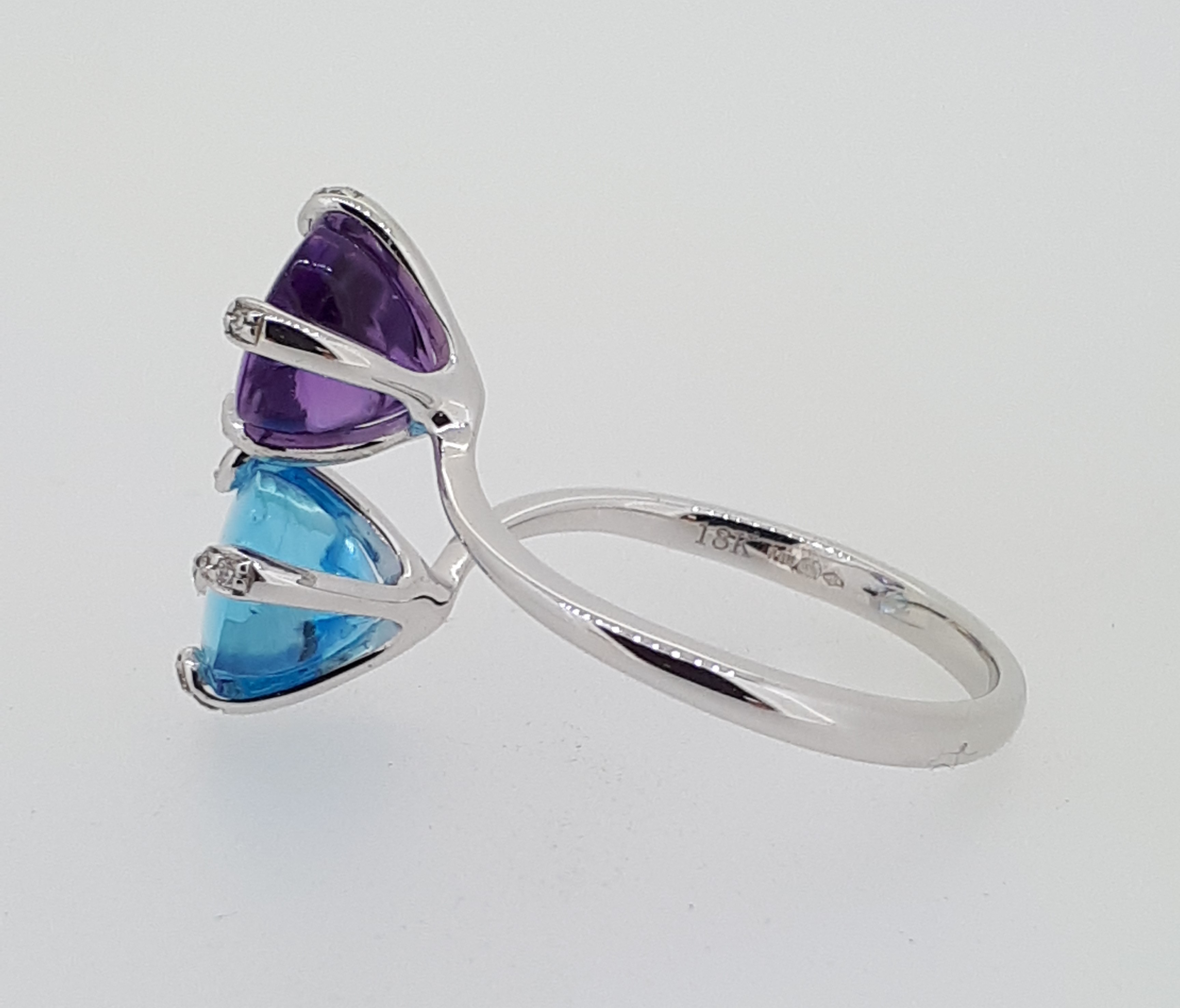 18ct (750) Topaz & Amethyst Crossover Ring with Diamond Claw Setting - Image 5 of 6