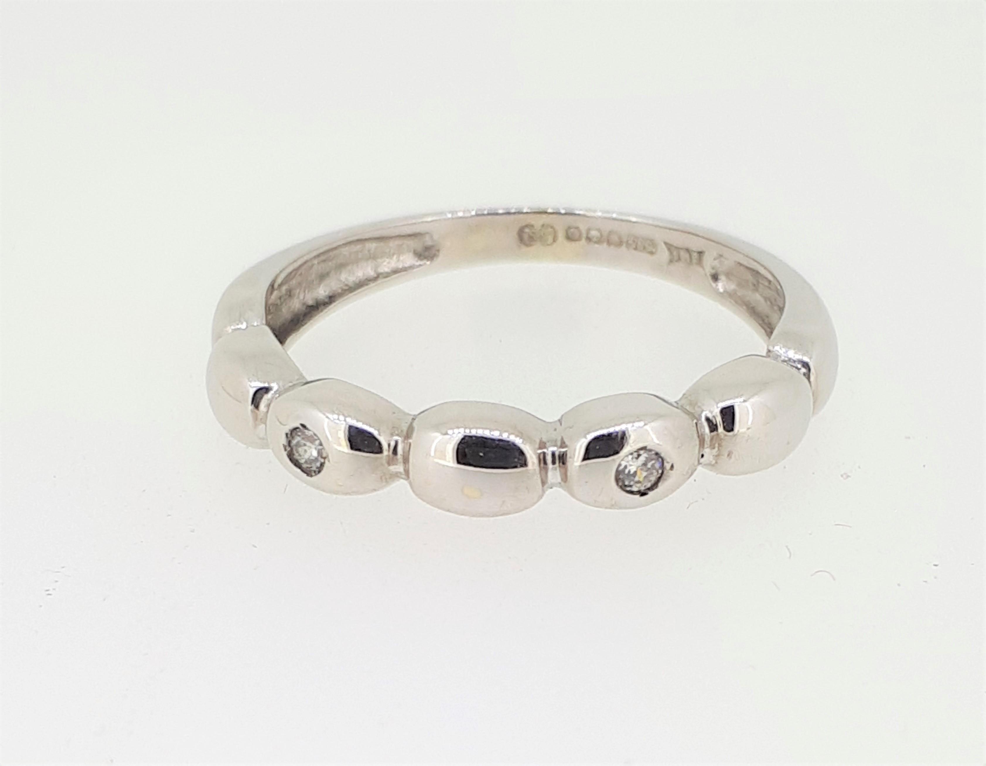 14ct (585) White Gold & Diamond Five Bead Ring