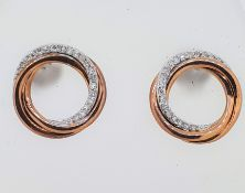 9ct (375) Rose Gold Diamond Open Twist Circle Stud Earrings