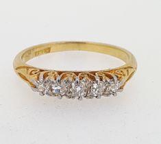 Vintage 18ct (375) Yellow Gold Five Stone 0.45ct Diamond Eternity Ring