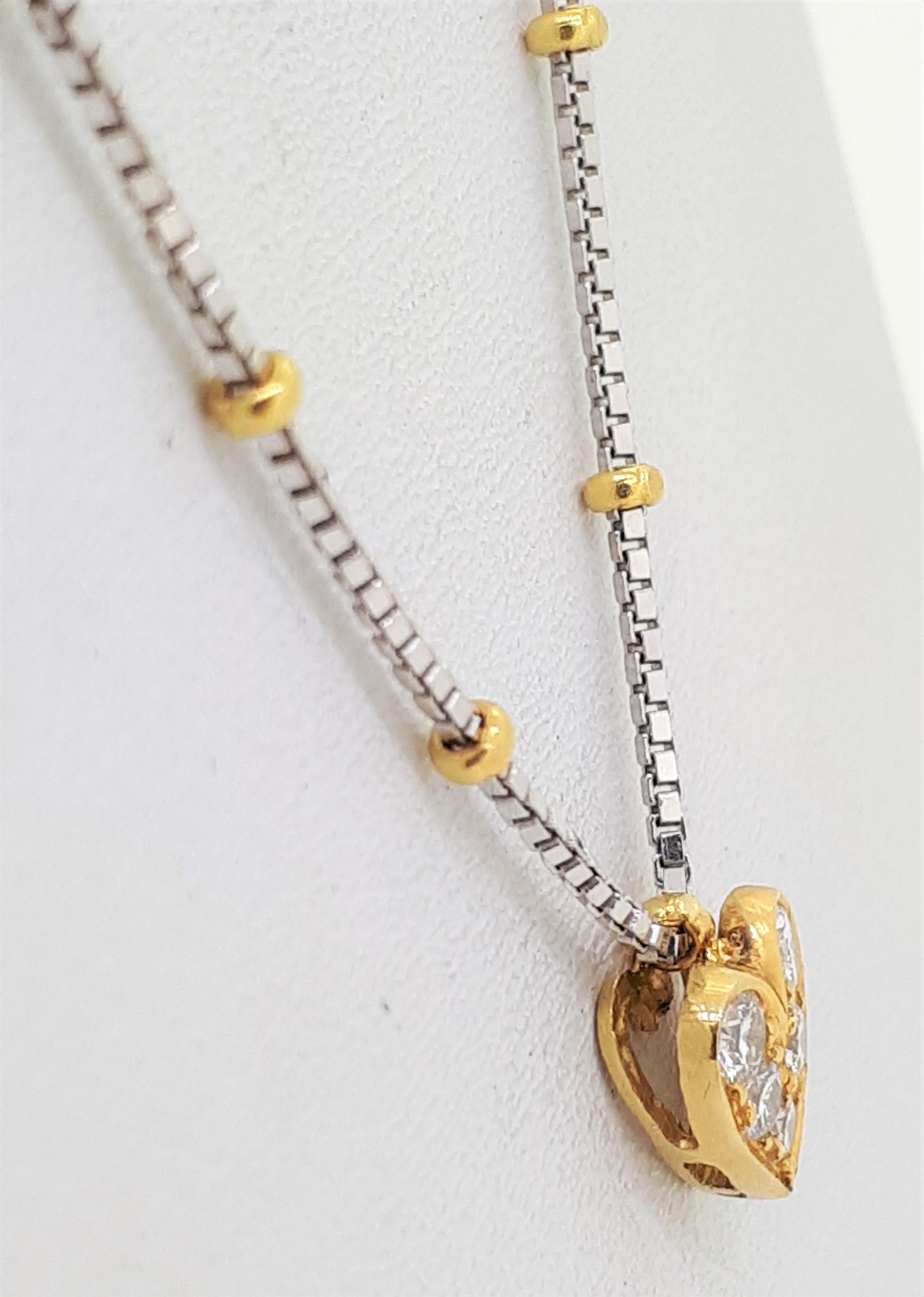 """18ct Yellow Gold 0.10ct Diamond Set Heart on a White Gold Box Chain & Yellow Gold Ball Links - 18"""" - Image 2 of 3"""
