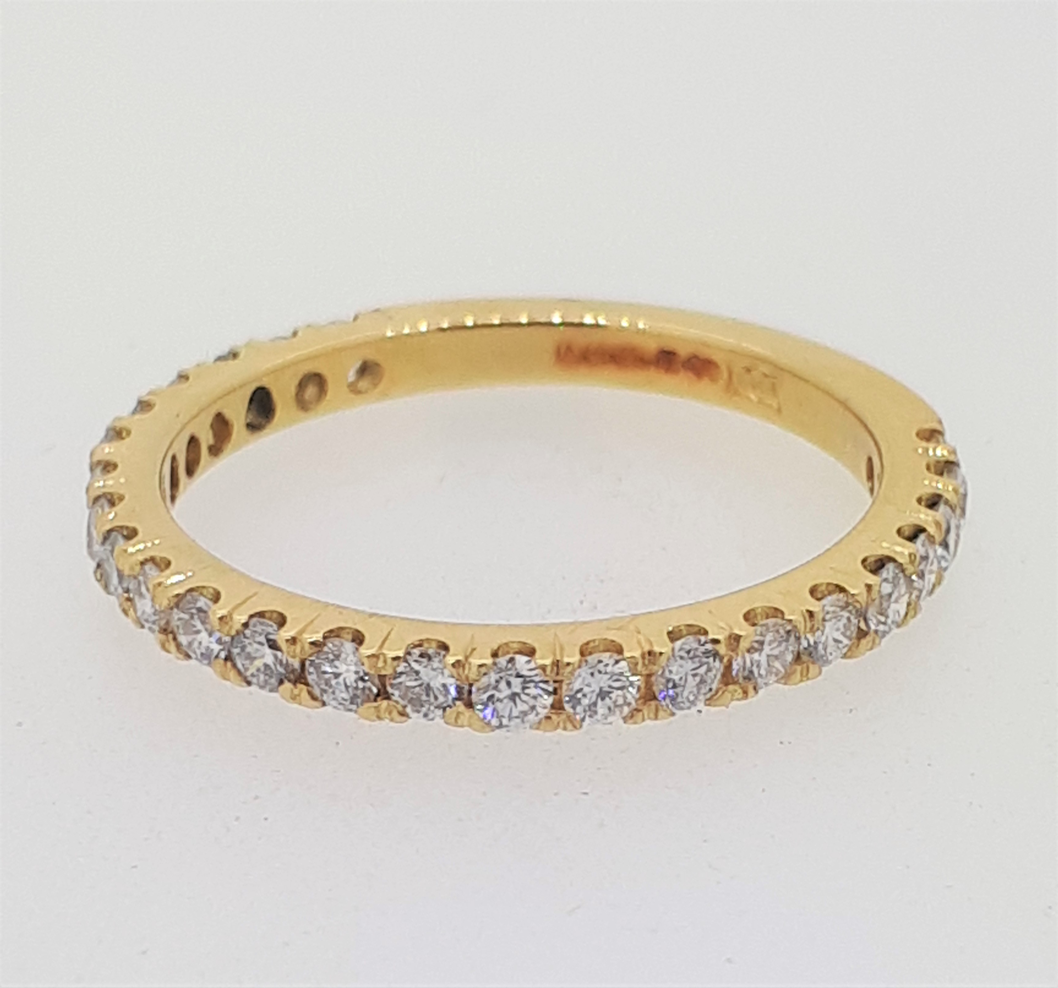 Handmade 18ct (750) yellow Gold 0.25ct 3/4 Claw Set Eternity Ring