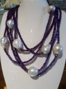 """Baroque Pearl & Amethyst Long Rope Necklace with Silver Gilt - 72"""""""