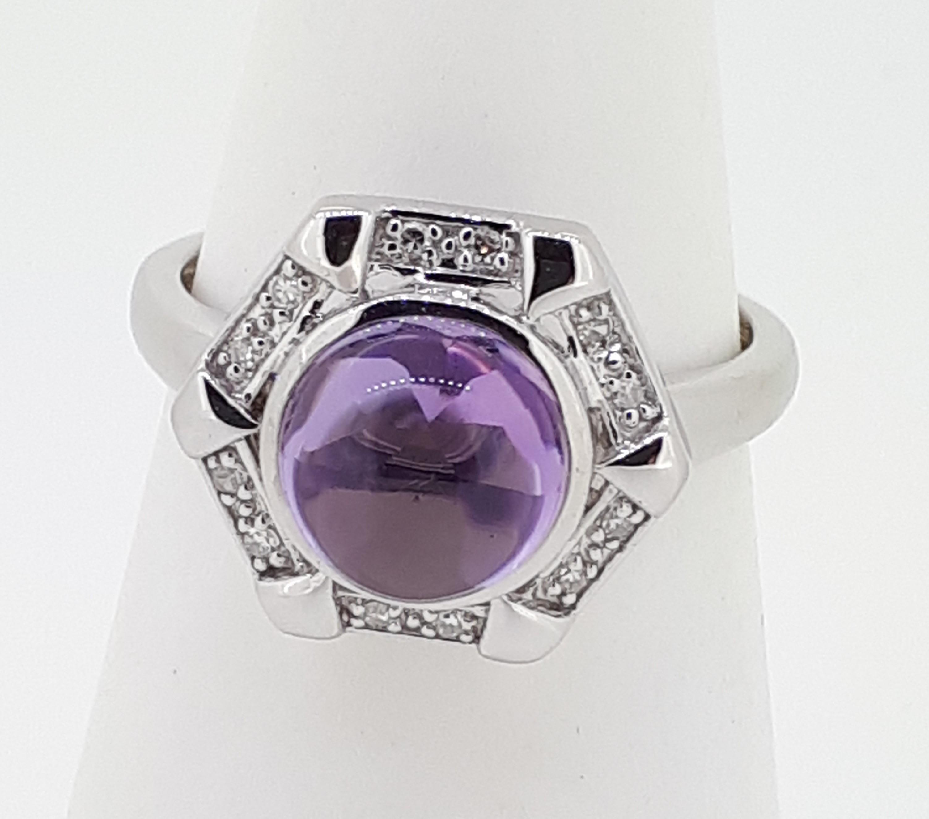 9ct White Gold Cabochon Amethyst & Diamond Ring