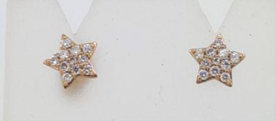 9ct (375) Yellow Gold 0.12ct Diamond Star Stud Earrings