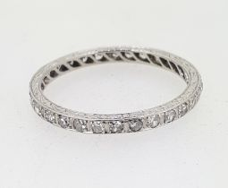 Platinum 0.50ct Diamond Full Eternity Ring with Engraved Sides