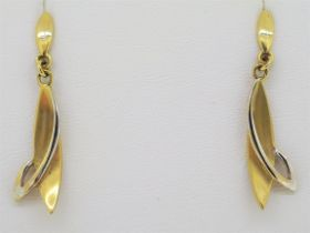 9ct (375) White & Yellow Gold Drop Leaf Shaped Stud Earrings