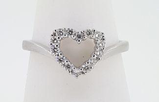 9ct (375) White Gold 0.28ct Diamond Open Heart Ring