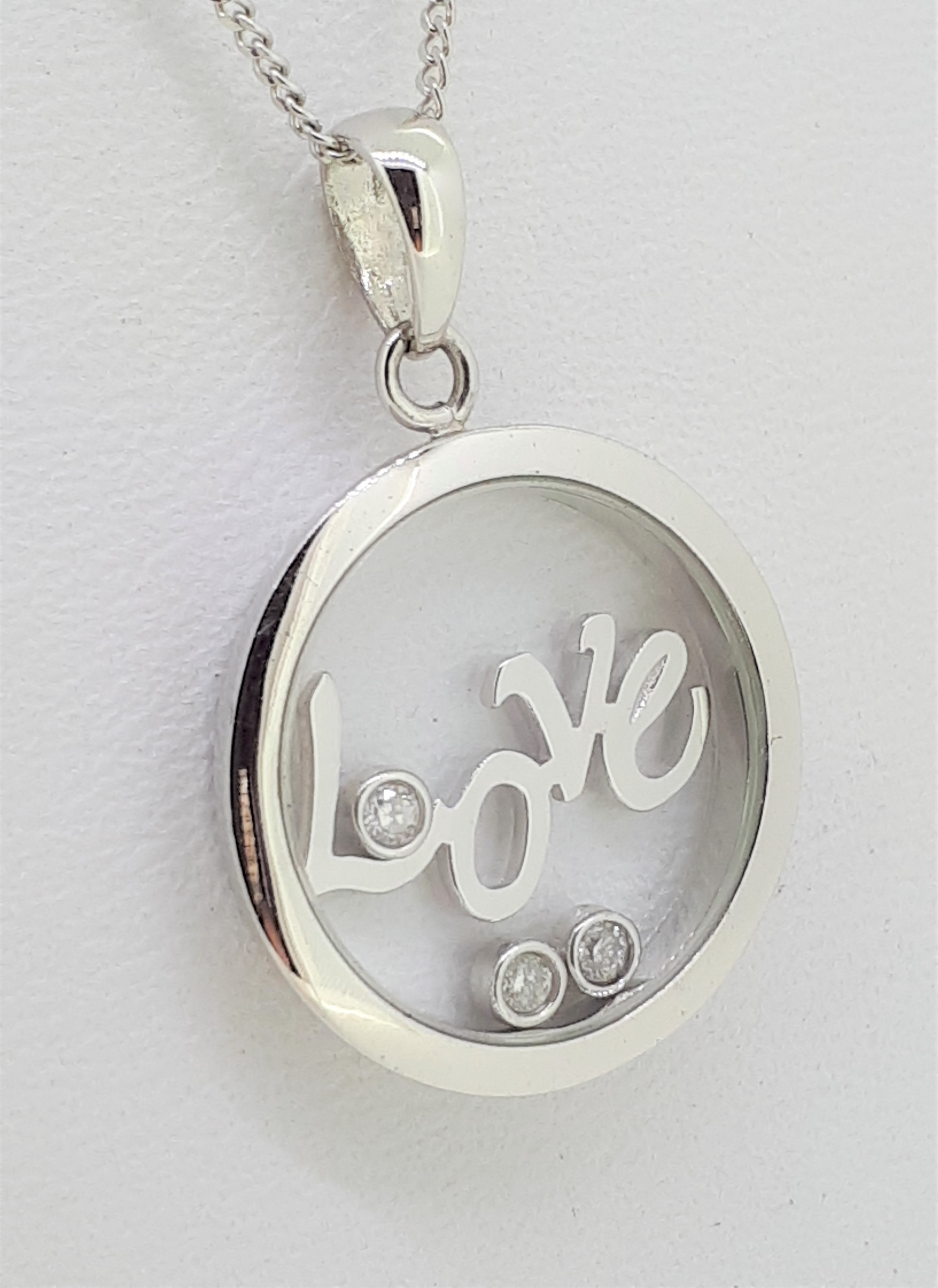 9ct White Gold 'Love' Circle Diamond Pendant on Curb Chain Necklace
