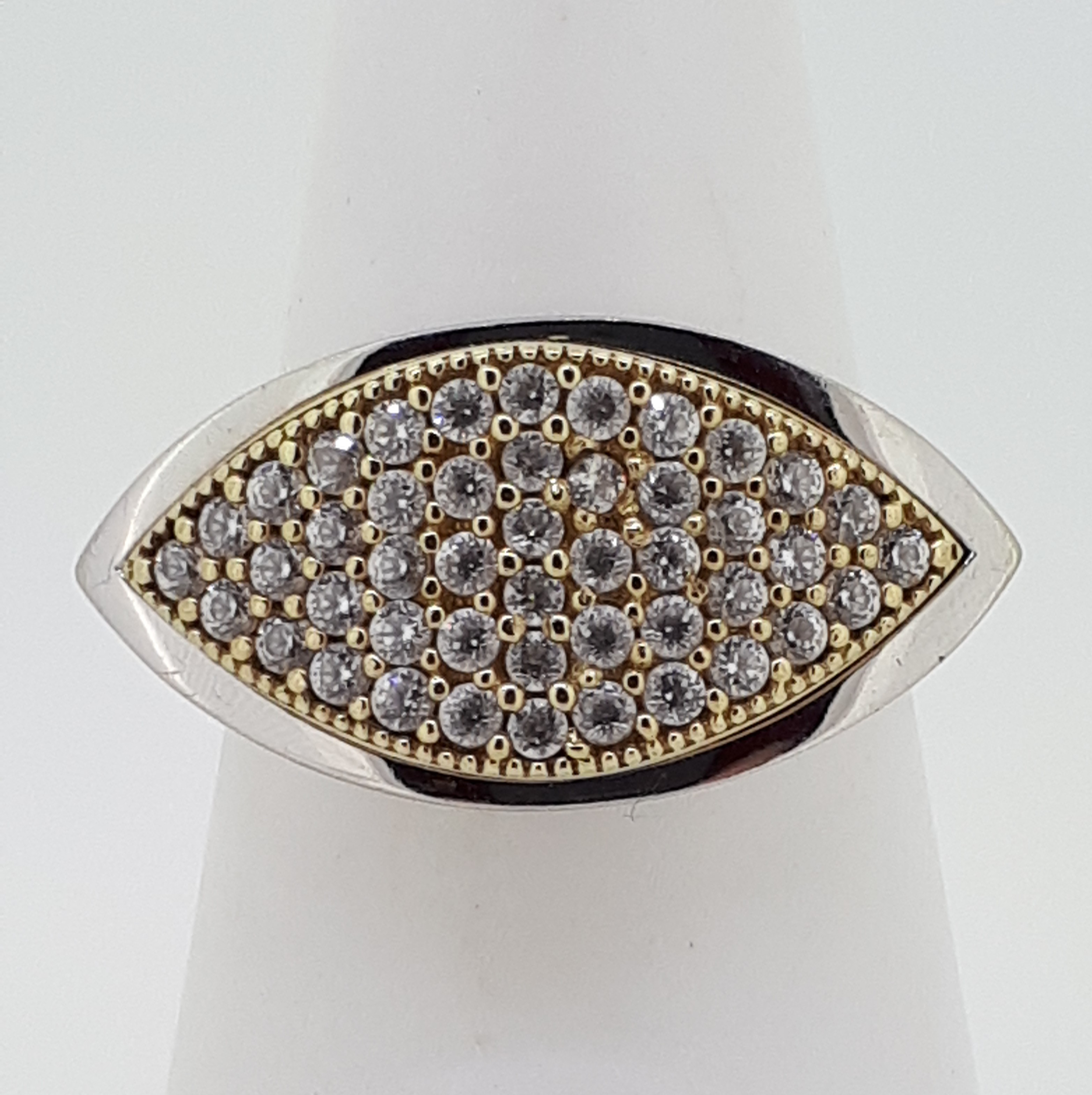 9ct (375) White & Yellow Gold Marquise-Shaped CZ Ring - Image 4 of 4