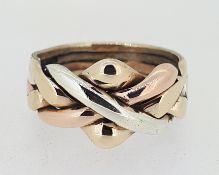 9ct (375) Three Colour Gold Russian Puzzle Ring