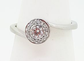 9ct (375) White Gold 0.80ct Diamond Crossover Ring