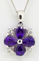 """9ct White Gold Pear Shaped Amethyst & Diamond Pendant on Curb Chain - 16"""""""