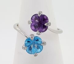 18ct (750) Topaz & Amethyst Crossover Ring with Diamond Claw Setting