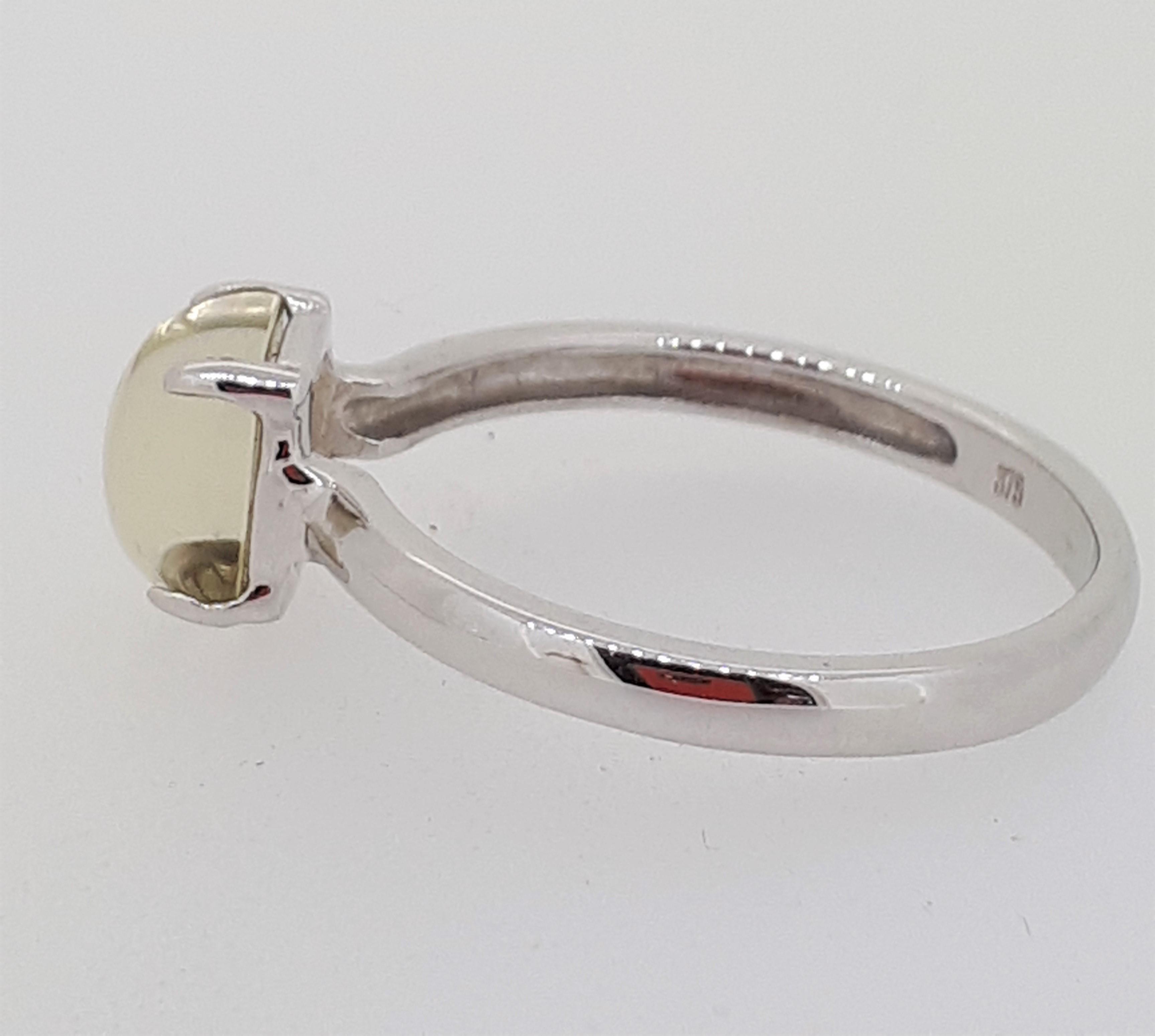 9ct (375) White Gold Lemon Quartz Cabochon Four Claw Ring - Image 3 of 4